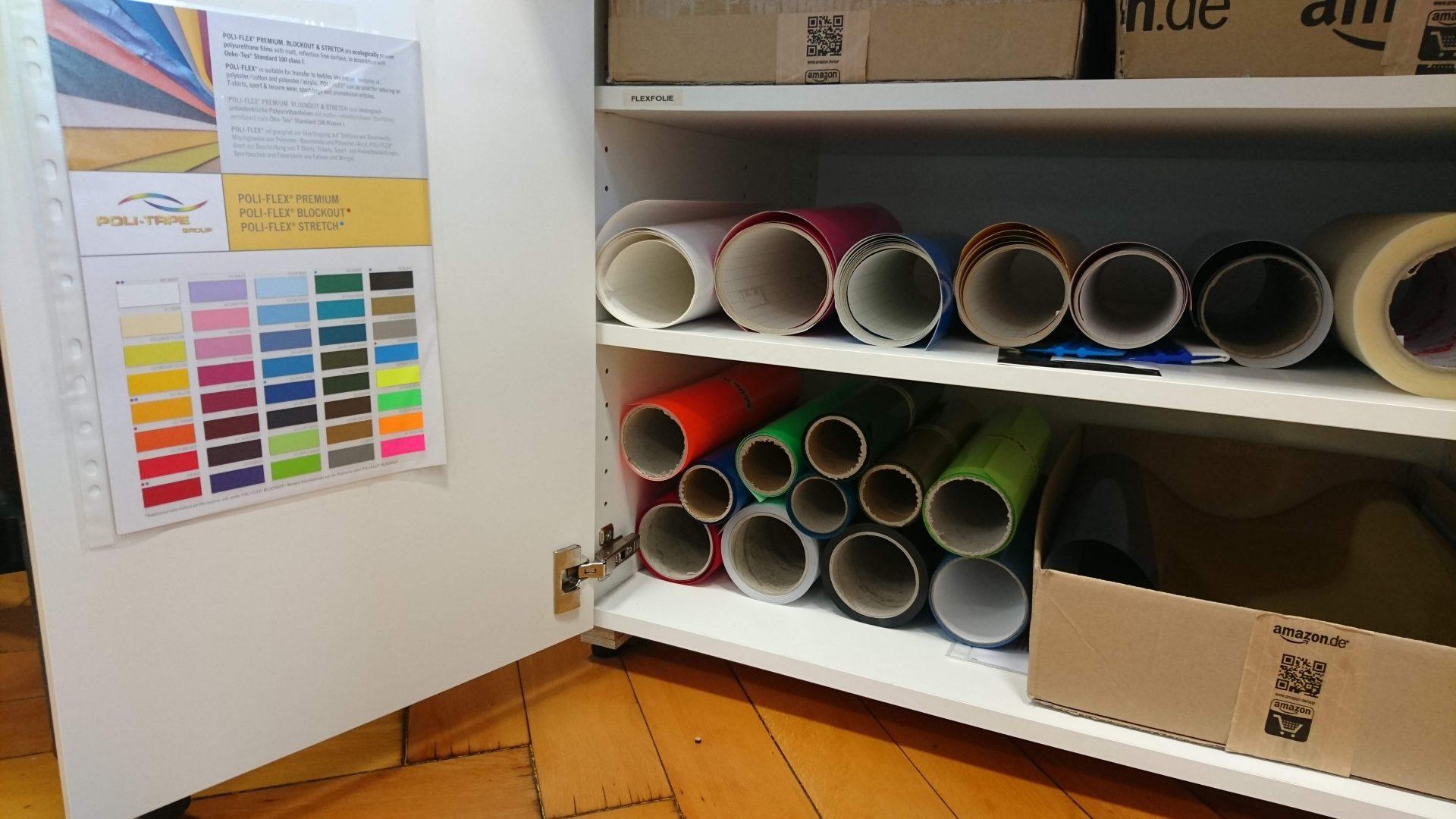 Die neuen Folien im Schrank
